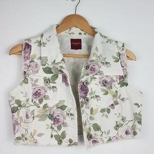 Vintage| 90s Floral Cropped White Jean Vest